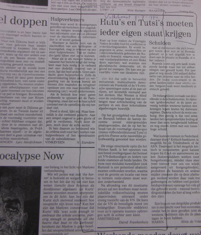 Ingezonden brief Hutu's & Tutsi's Rwanda, Volkskrant 9 juli 1994