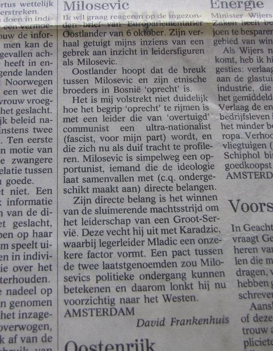 Ingezonden brief over Slobodan Milosevic, Volkskrant 13 oktober 1994