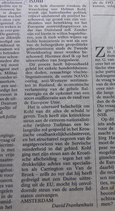 ingezonden brief Helmut Kohl Balkan Navo