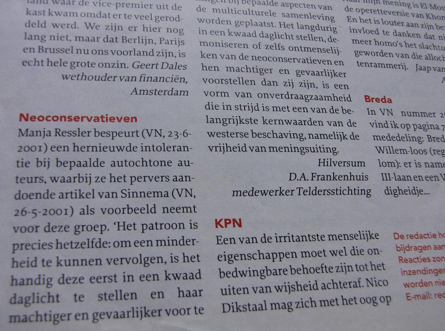 ingezonden brief politieke correctheid 'neo-conservatieven' - Vrij Nederland, 21 juli 2001