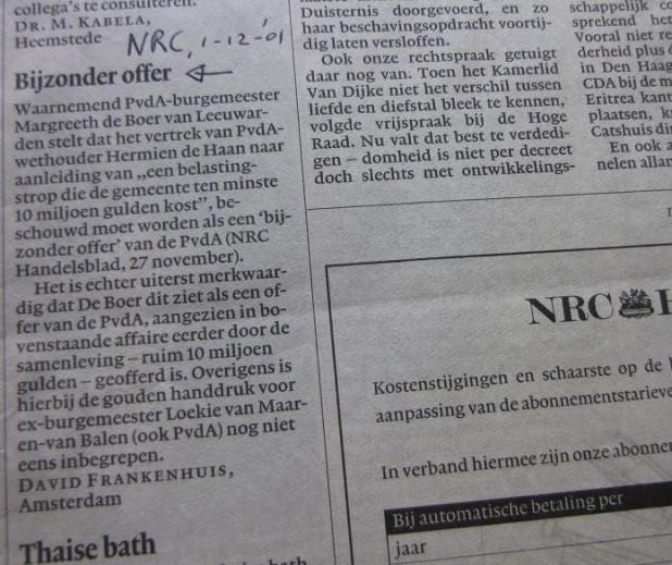 'Bijzonder offer', NRC-Handelsblad 1 dec. 2001