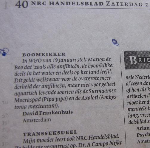 Ingezonden brief 'Boomkikker', NRC-handelsblad 2 februari 2002