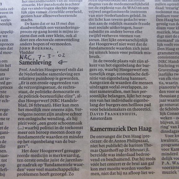 ingezonden brief 'Samenleving', NRC-Handelsblad 7 maart 2002