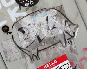 graffiti pig on door Amsterdam 2013 swine hog porc