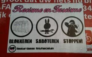 sticker 'blokkeren - saboteren - stoppen'
