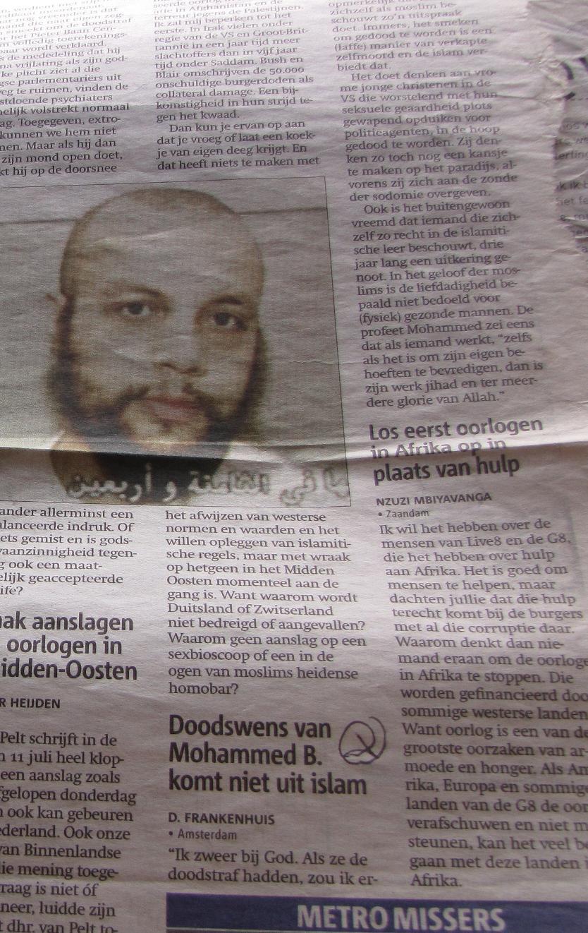 (ingezonden brief Metro 13 juli 2005 Mohammed B Bouyeri)