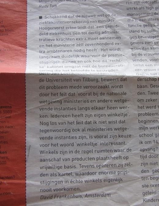 (ingezonden brief Intermediair 'paarse krokodil')