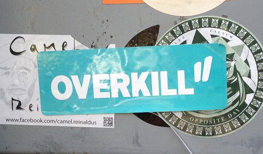 sticker overkill Amsterdam Spui