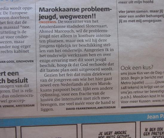 Marokkaanse probleemjeugd ingezonden brief Metro