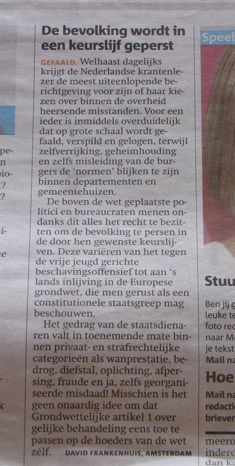 ingezonden brief over de betuttelende overheid in Nederland