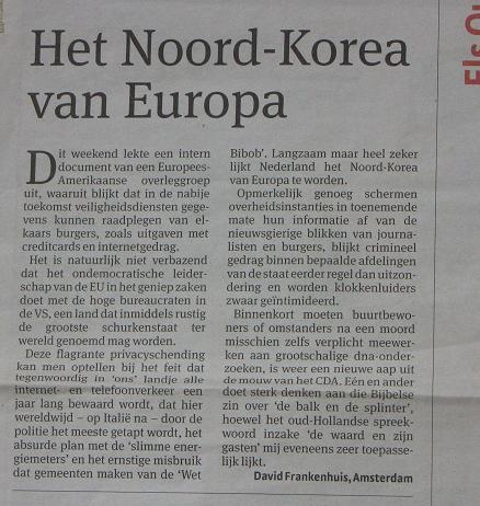 ingezonden brief over spionage op Nederlandse bevolking