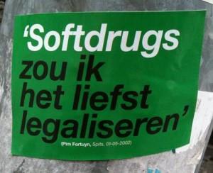 sticker 'Softdrugs zou ik het liefst legaliseren' Pim Fortuyn