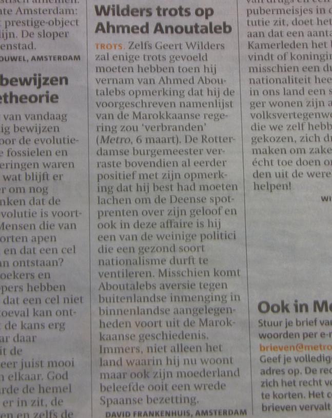 Ingezonden brief Geert Wilders Ahmed Aboutaleb
