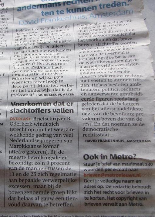 'Voorkomen dat er slachtoffers vallen' ingezonden brief Metro 7 juli 2009