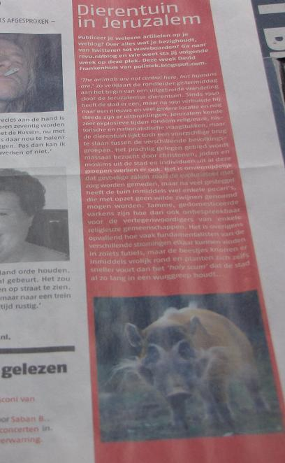 artikel over Jeruzalem Zoo