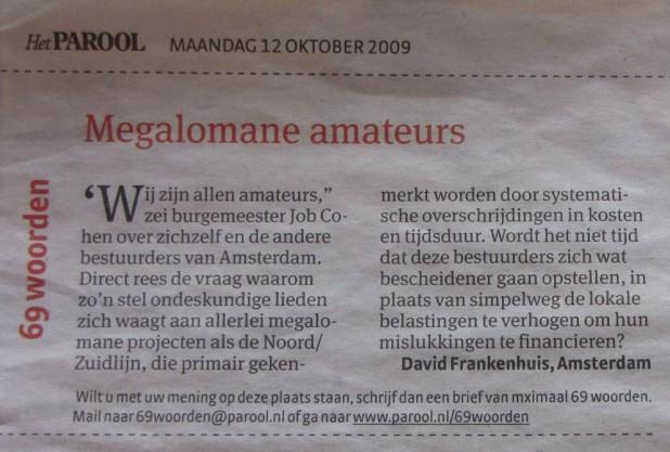 ('Megalomane amateurs', Parool, 12-10-2009)