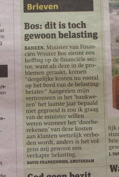 'Bos belasting', Metro, 10 nov 2009