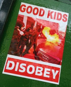 sticker good kids disobey Spuistraat Amsterdam 2014 April riot car fire