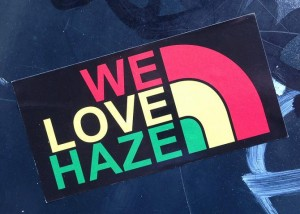 sticker we love haze Amsterdam 2013