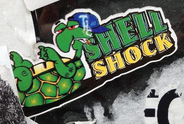 shell shock sticker turtle joint cannabis Amsterdam center August 2013