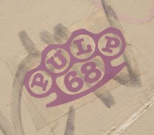 sticker Pulp 68 boksbeugel Amsterdam 2013 Brass knuckles