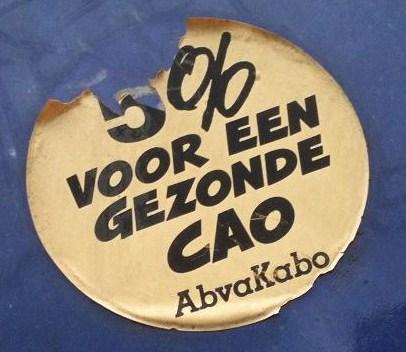 sticker 'AbvaKabo 5 procent voor een gezonde CAO'