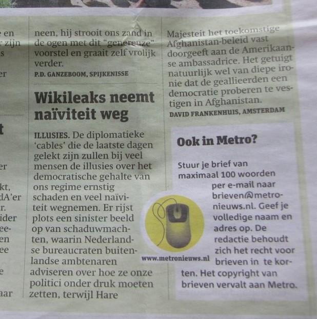 Wikileaks cables, ingezonden brief Metro januari 2011