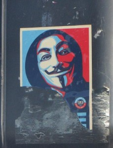 sticker Wikileaks Guy Fawkes LA Venice Beach
