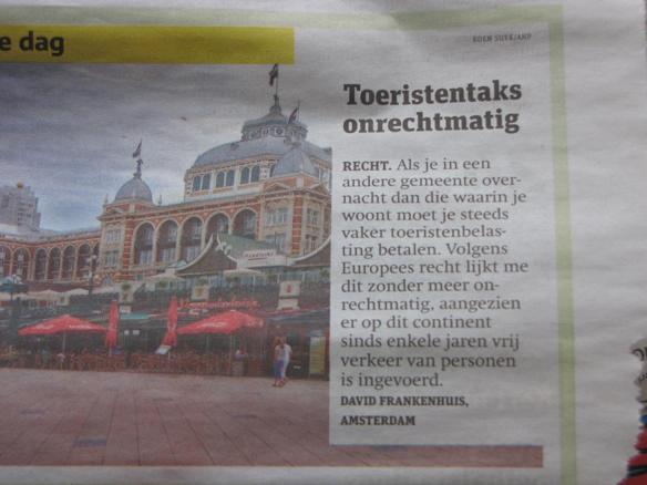 ingezonden brief toeristentaks toeristenbelasting Metro mei 2011