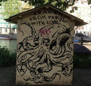 painting kraken squid from Paris with love Amsterdam August 2013