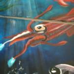 Kraken inktvis muurschildering Fons Vitae Lyceum