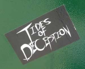 sticker Tides of deception 2014 July Philadelphia street-art politics