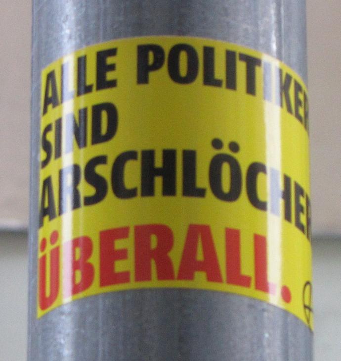 Sticker alle Politiker sind Arschlöcher überall anarchy Budapest 2013
