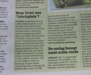 (ingezonden brief Metro over corruptie in Nederland)