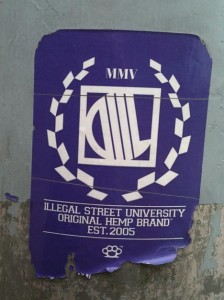 sticker 'illegal street university original hemp brand est. 2005