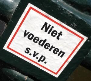 sticker niet voederen svp Amsterdam 2013