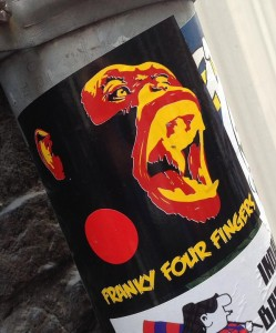 sticker Franky four fingers Amsterdam center August 2013 chimpansee