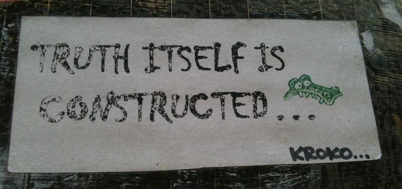 sticker Kroko truth itself is constructed Amsterdam 2012