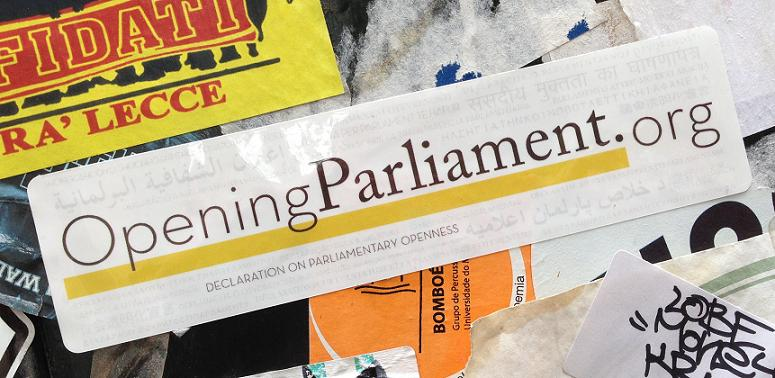 sticker parliament openness declaration Amsterdam center August 2013