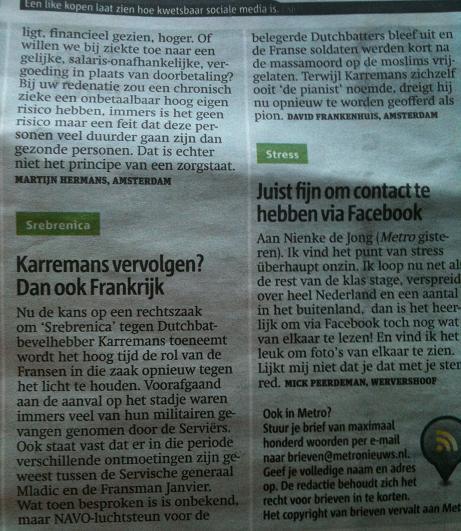 (Metro, 'rechtszaak Karremans', 11 mei 2012)