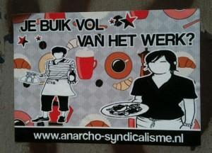 sticker buik vol van werk anarcho-syndicalisme