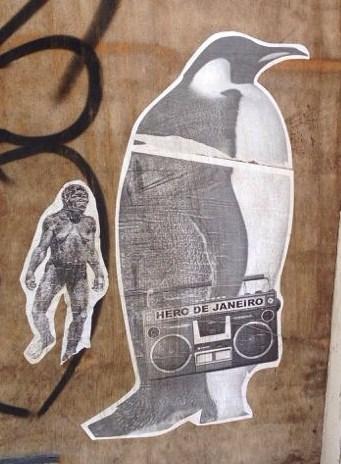sticker Hero de Janeiro penguin Amsterdam center 2013 September