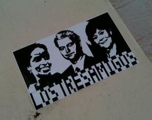 Hirsi Ali, Wilders, Verdonk, sticker 'los 3 amigos'
