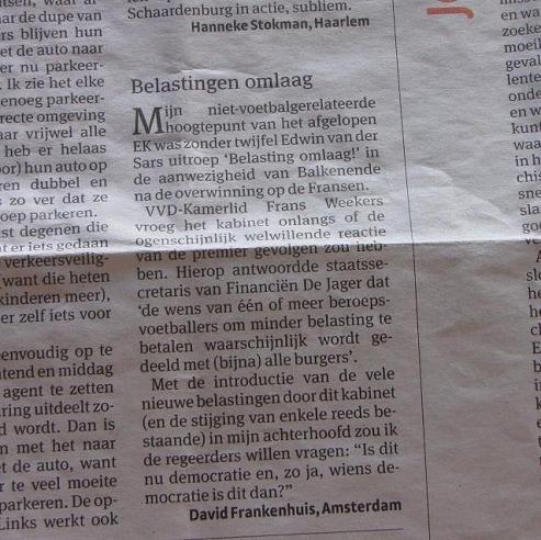 'Belastingen omlaag', Parool, 1 augustus 2008