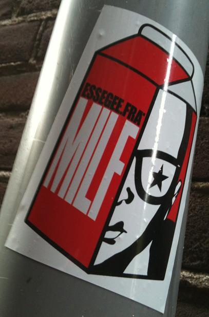 sticker 'MILF' essegee.fra Amsterdam