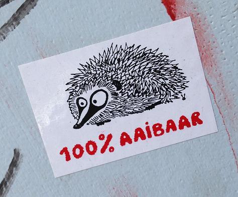 sticker egel 100 procent aaibaar Amsterdam