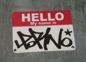 sticker 'hello my name is porno'