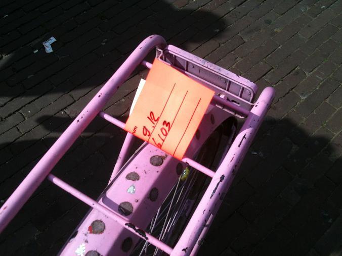 plakker AFAC achterrek fiets Amsterdam Leidse Plein