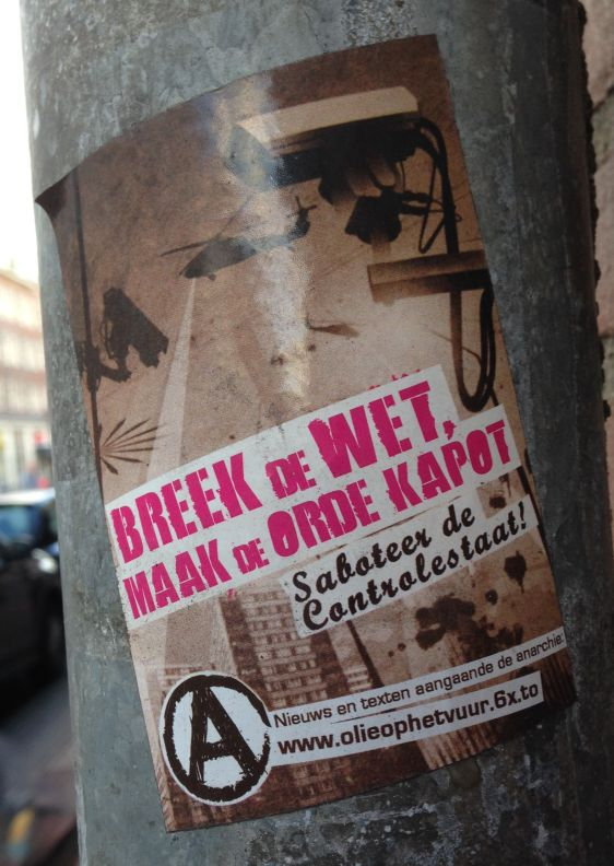 sticker controlestaat Amsterdam center 2013 December breek wet orde kapot