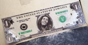sticker dollar love ganja Amsterdam December 2013 Bob Marley money